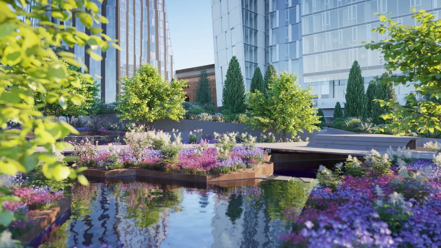 Waterline Square Park's Completion Recently Announced
